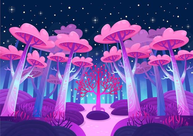 Eine spielerische naturlandschaft. nachtwald mit magischen bäumen und einem see. cartoon-stilvektor Premium Vektoren