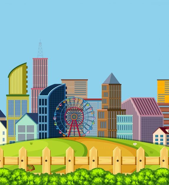 Eine städtische stadtszene Premium Vektoren