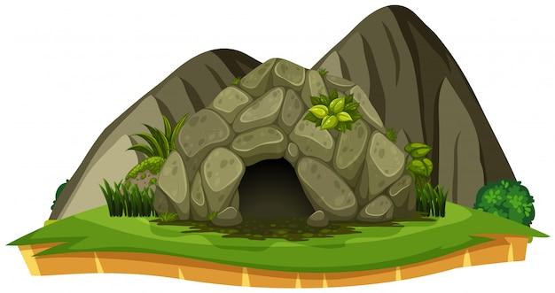 Eine steinhöhle auf weißem hintergrund Premium Vektoren