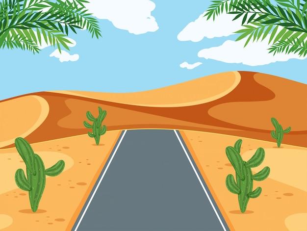 Eine straße in der wüste Premium Vektoren