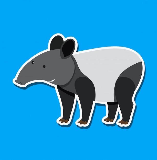 Eine tapir-sticker-figur Premium Vektoren