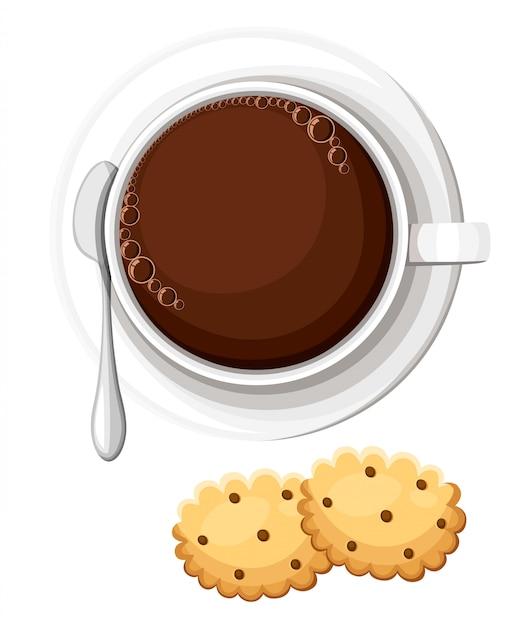 Eine tasse heißen tee oder kaffee. kekse mit schokoladenstückchen. heisses getränk. abbildung webseite und element der mobilen app. Premium Vektoren