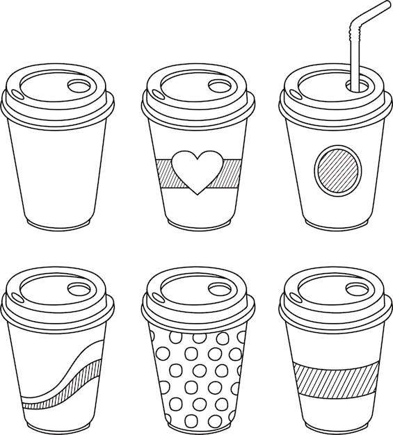 Eine tasse kaffee im doodle-stil Premium Vektoren