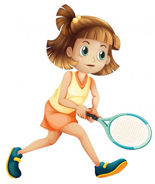 Eine tennismädchenfigur Kostenlosen Vektoren