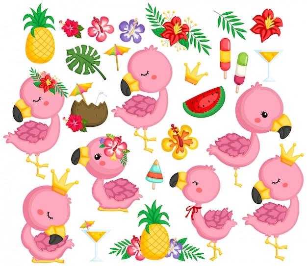 Eine vektorsammlung flamingos und tropische einzelteile Premium Vektoren