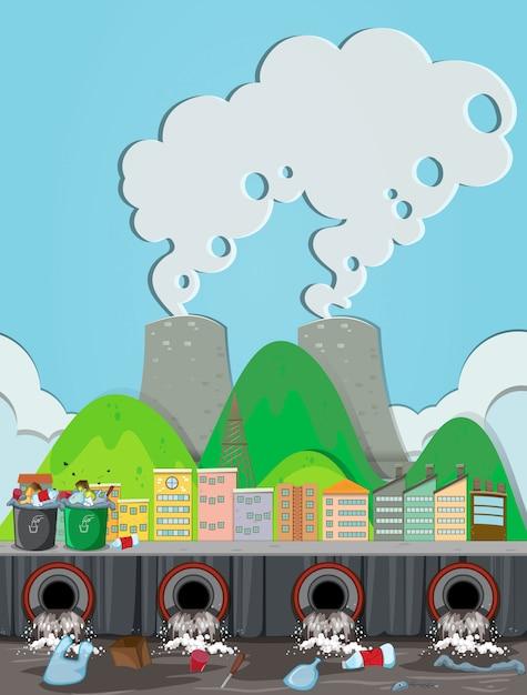 Eine verunreinigung vom kernkraftwerk Premium Vektoren