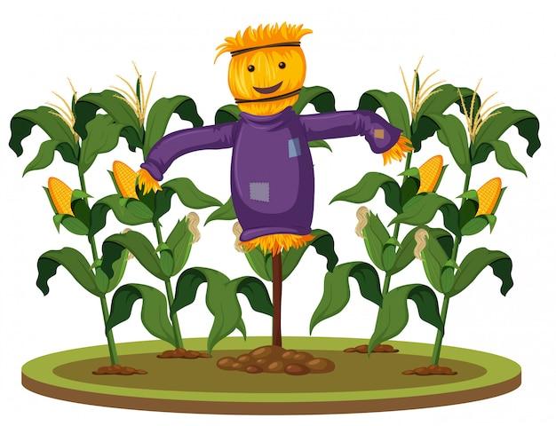 Eine vogelscheuche auf der maisfarm Premium Vektoren