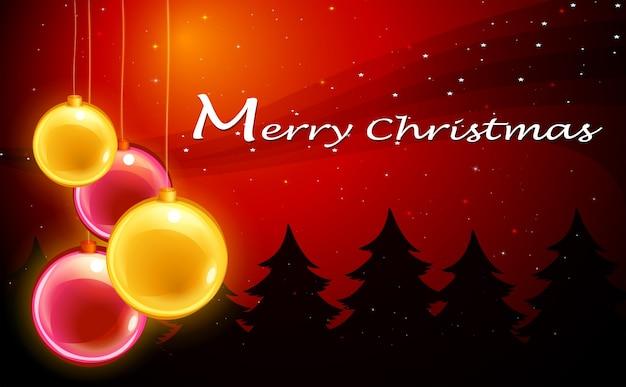 Eine weihnachtskarte vorlage mit funkelnden kugeln download der kostenlosen vektor - Vorlage weihnachtskarte ...