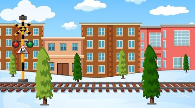 Eine winterlandschaft im freien Kostenlosen Vektoren
