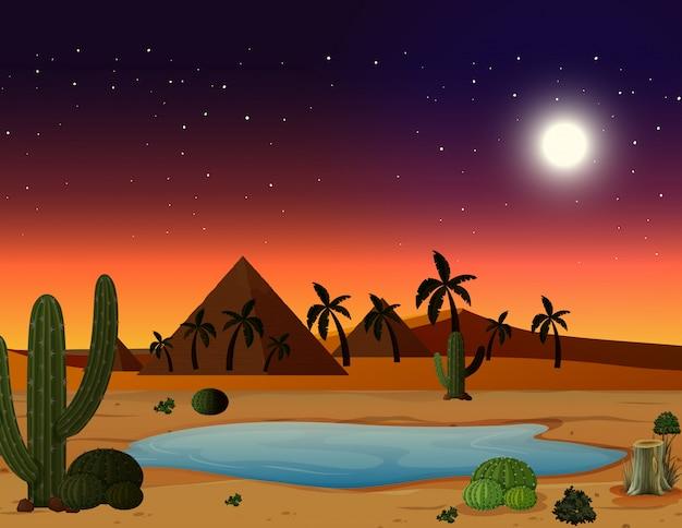 Eine wüstenszene bei nacht Kostenlosen Vektoren