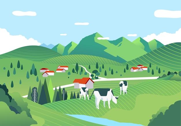 Eine wunderschöne landschaft mit einer weiten grünen wiese, hügeln und kühen weiden. wird für poster, banner und webbilder verwendet Premium Vektoren