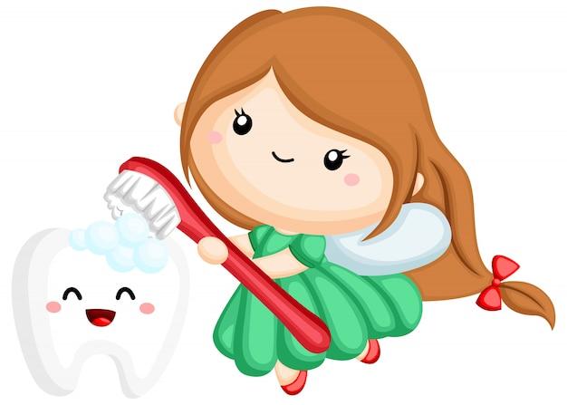 Eine zahnfee, die einen zahn mit einer bürste putzt Premium Vektoren
