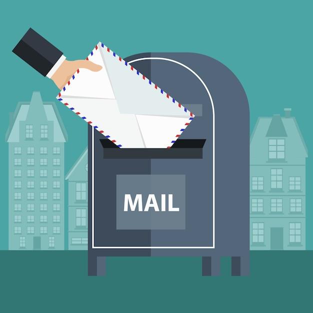 Einen umschlag in eine mailbox legen Kostenlosen Vektoren