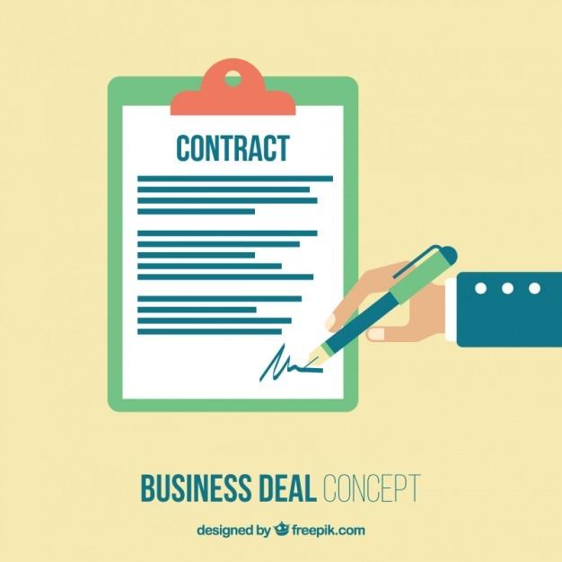 Einen vertrag unterschreiben Kostenlosen Vektoren