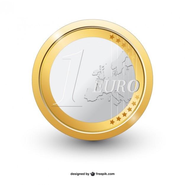 Einer euro-münze vektor Kostenlosen Vektoren