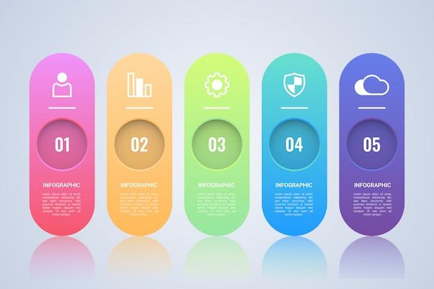 Einfache 5-schritte-infografik-vorlage Premium Vektoren