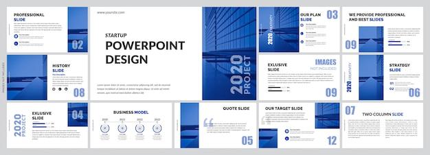 Einfache blaue präsentationsvorlage Premium Vektoren