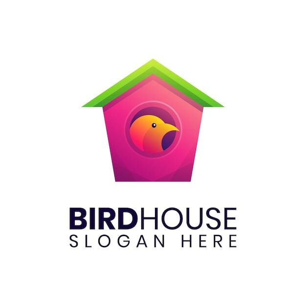 Einfache bunte logo-schablone des vogelhauses Premium Vektoren