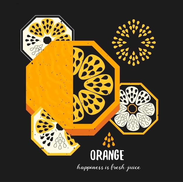 Einfache dekorative orange fruchtabbildung Premium Vektoren