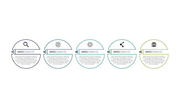 Einfache dünne linie infografik Premium Vektoren