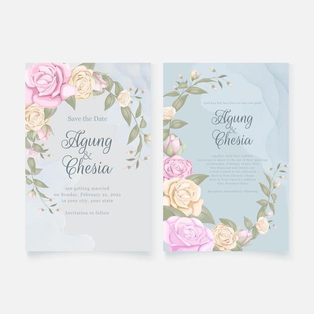 Einfache elegante hochzeitseinladungskarte mit rosen Premium Vektoren