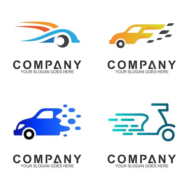 Einfache flache transport- / fahrzeuglogodesign Premium Vektoren