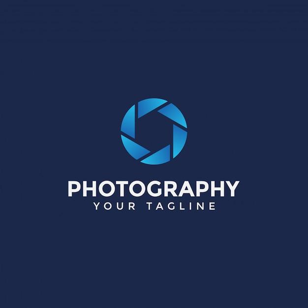 Einfache fotografie logo design template Premium Vektoren