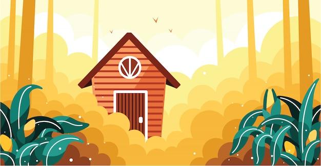 Einfache getreidefelder und illustration des kleinen hauses Premium Vektoren