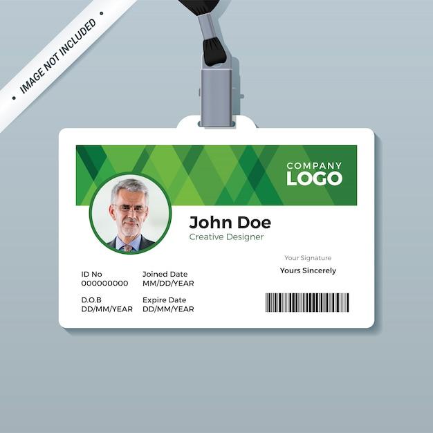 Einfache grüne personalausweisvorlage Premium Vektoren