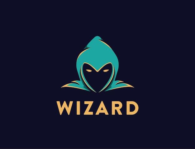 Einfache kopf des assistenten-logo-vorlage auf schwarz Premium Vektoren