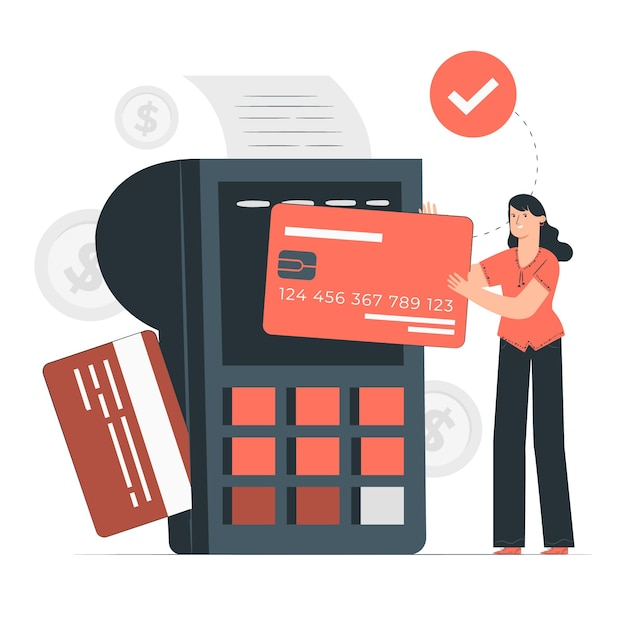 Einfache kreditkartenkonzeptillustration Kostenlosen Vektoren
