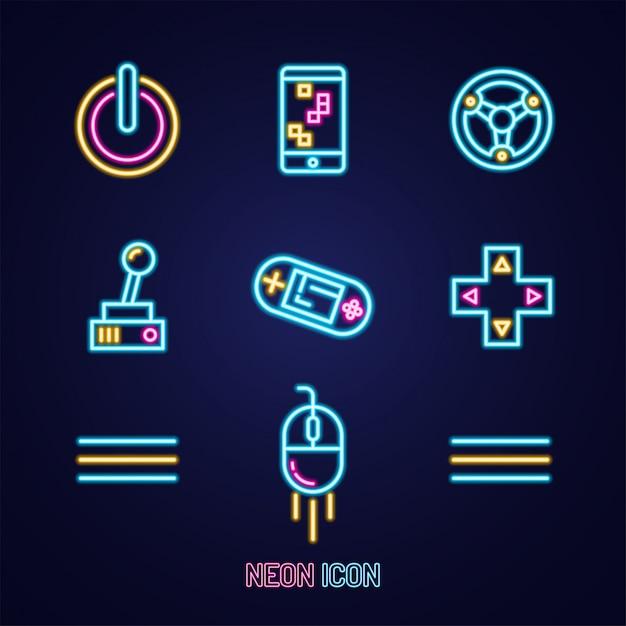 Einfache leuchtende bunte ikone des neonentwurfs auf blau Premium Vektoren
