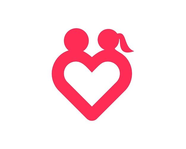 Einfache liebe romantik-logo Premium Vektoren
