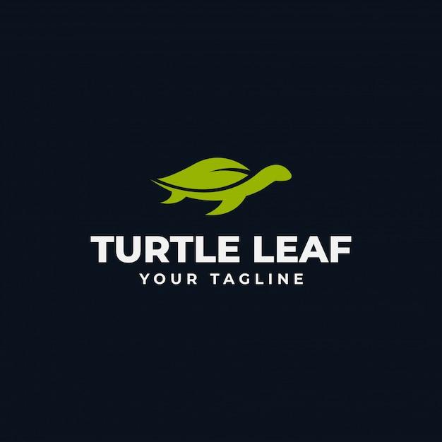Einfache meeresschildkröte und natur-blatt eco logo design template Premium Vektoren