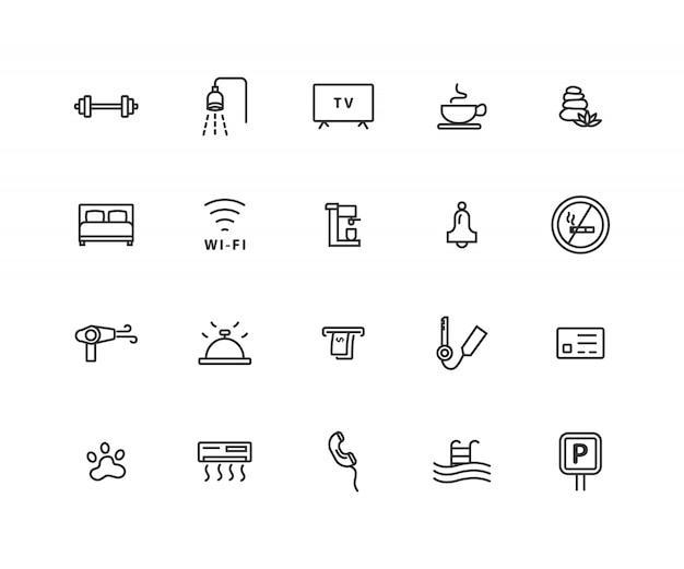 Einfache reihe von hotelbezogenen linie symbole Premium Vektoren