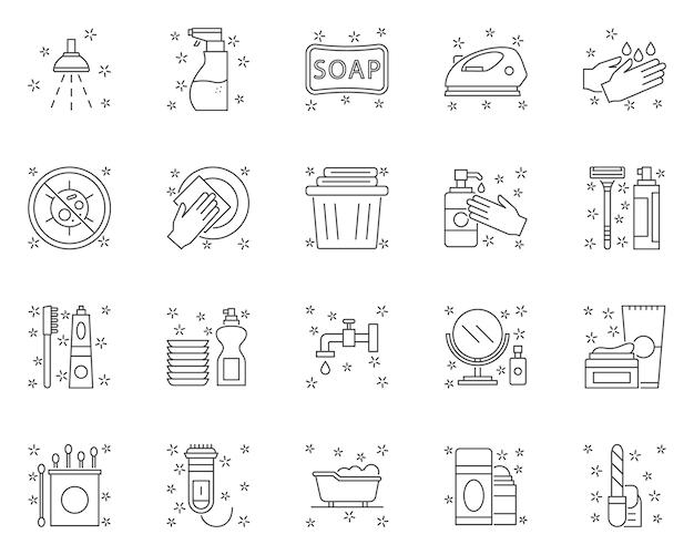 Einfache reihe von hygienebezogenen linie symbole Premium Vektoren