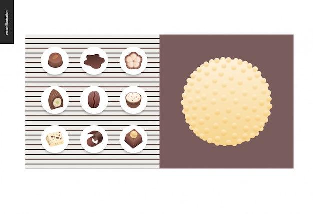 Einfache sachen - mahlzeit - flache karikaturvektorillustration des satzes klarer bonbons und der stangen der dunklen und weißen schokolade, der schokoladensplitter, der kaffee- und kakaobohnen und der heißen schokolade Premium Vektoren