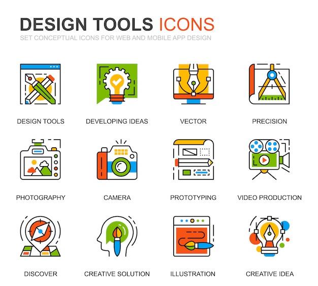 Einfache set design tools line icons für die website Premium Vektoren