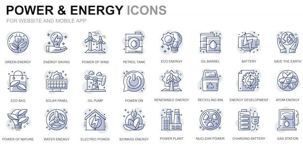 Einfache set power industry und energy line icons für website und mobile apps Premium Vektoren
