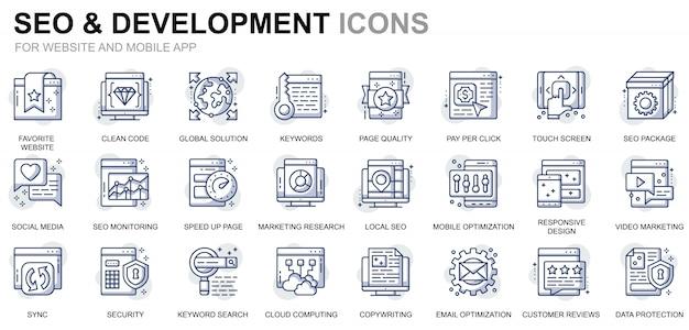 Einfache set seo und development line icons für website und mobile apps Premium Vektoren