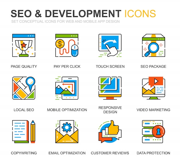 Einfache set seo und development line icons für website Premium Vektoren