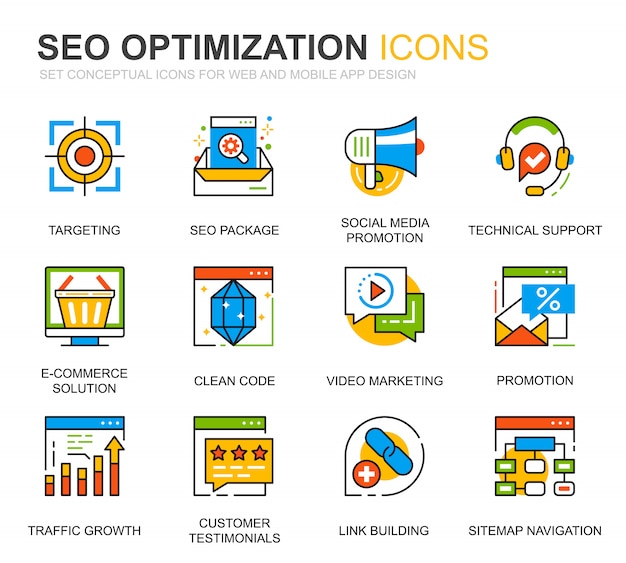 Einfache set seo und web optimization line icons für website Premium Vektoren