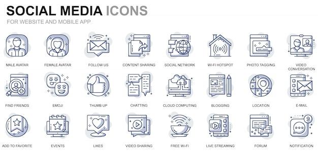 Einfache set social media und network line icons für website und mobile apps Premium Vektoren