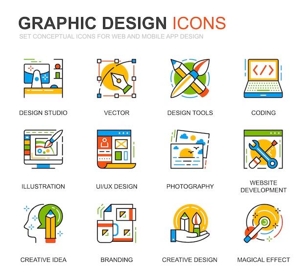 Einfache set-web-und grafikdesign-linie icons für website Premium Vektoren