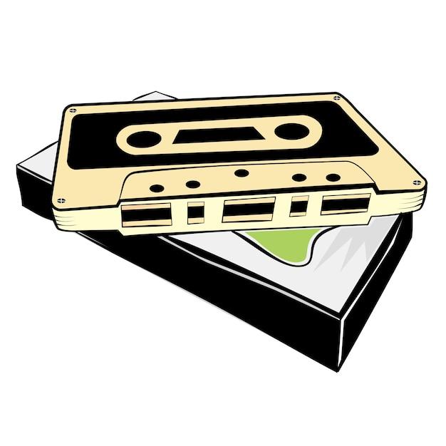 Einfache skizze der klassischen audiokassette Premium Vektoren