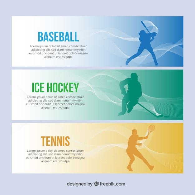 Einfache sport-banner mit spielern Kostenlosen Vektoren