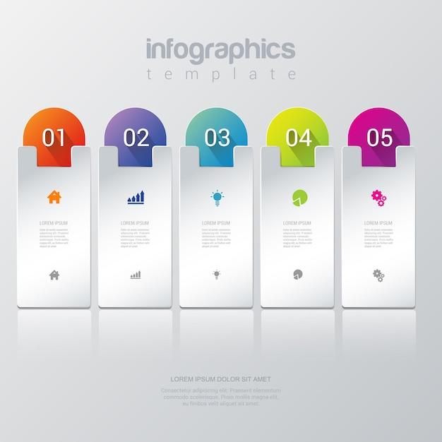 Einfache stilvolle 5 infografiken vorlage. Kostenlosen Vektoren