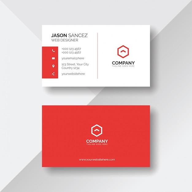 Einfache und saubere rote und weiße visitenkarteschablone Premium Vektoren