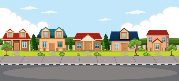 Einfacher dorfhaushintergrund Kostenlosen Vektoren