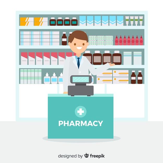 Einfacher hintergrund des flachen lächelnden apothekers Kostenlosen Vektoren